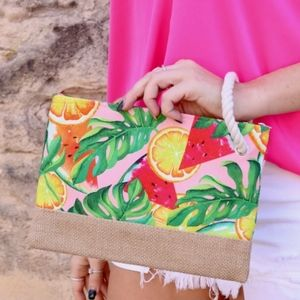 """NWT Fruit and Palm Pouch with Jute Trim 7"""" x 10"""""""